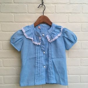 Vintage Girls Blue Button up Blouse